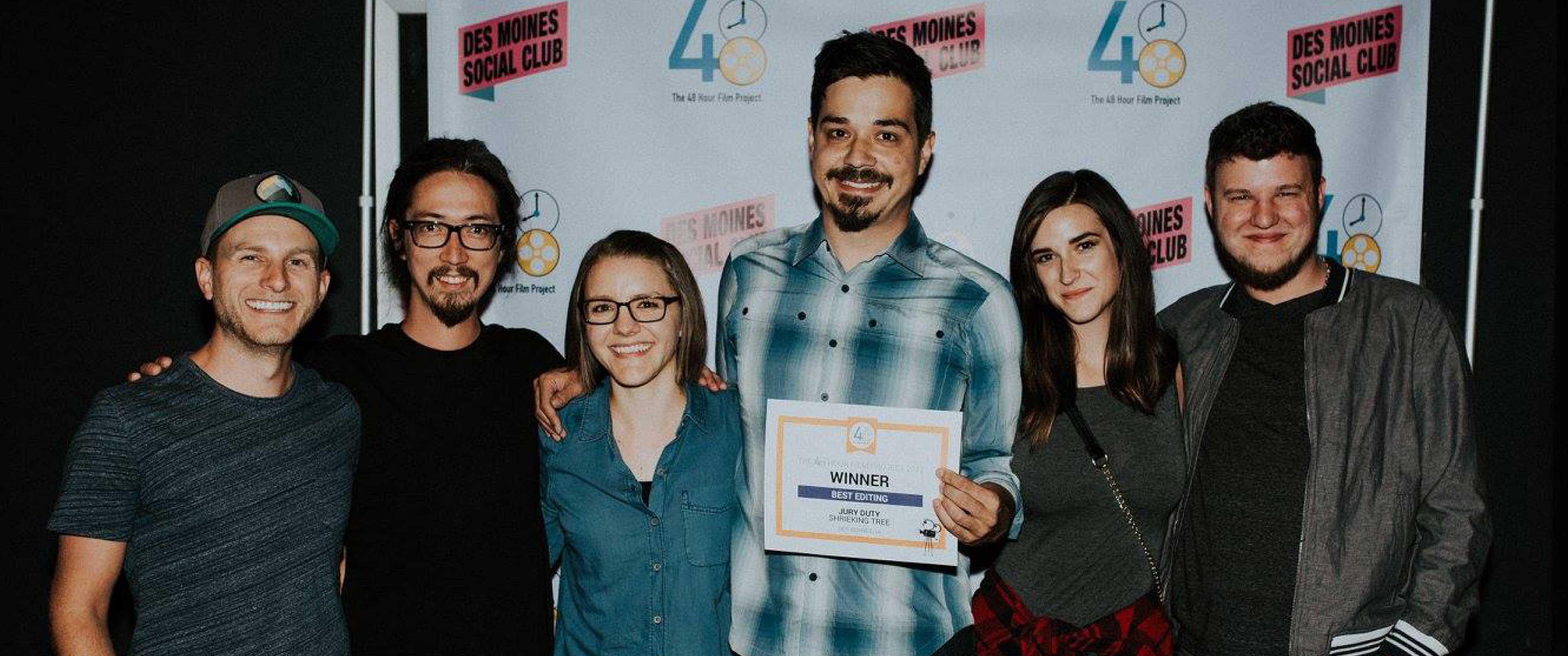 Members of Shrieking Tree pose at the 48 Hour Film Project awards.
