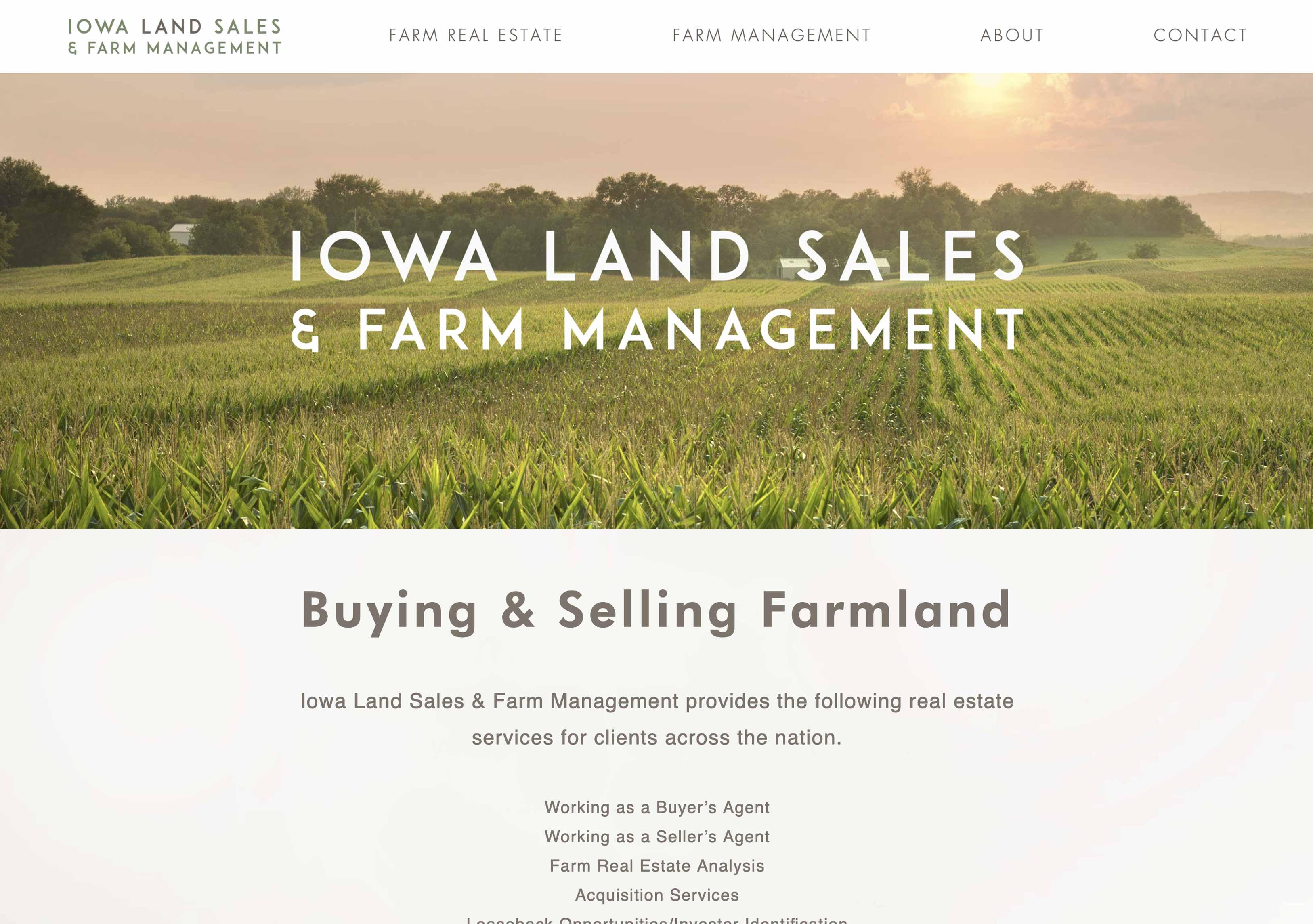 Iowa Land Sales 2.0 Web Site Design by Shrieking Tree