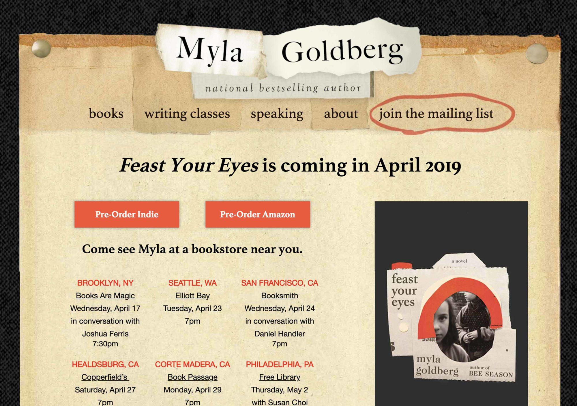 Myla Goldberg 2.0 Web Site